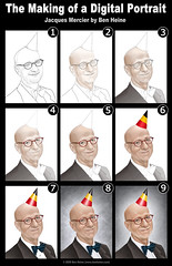 The Making of a Digital Portrait - Jacques Mercier (Ben Heine) Tags: party portrait news art texture hat smart television print beard glasses sketch funny belgium skin drawing background flag magic voice evolution brush digitalpainting chapeau laugh caricature writer belgian elegant fte airbrushing copyrights author lapremiere wacom journalism troubadour barbe pension rire magician volume stepbystep philosophe retraite dico rtb crivain sagesse ihecs pinceau belgianflag servicepublic rtbf mouscron radiopersonality maturit noeudpapillon benheine lalibrebelgique jacquesmercier peinturenumerique lasemaineinfernale lejeudesdictionnaires radiopublique radiotelevisionbelge monsieurdictionnaire infotheartisterycom
