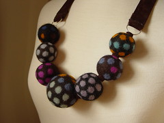 Circle dot felt necklace (Modern Fiber Lab - Sonya Yong James) Tags: wool circle necklace felt polka dot yayoi kusama