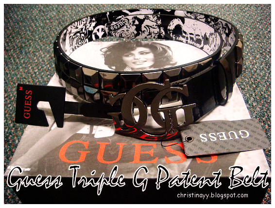 GUESS Patent Belt with Triple G Buckle