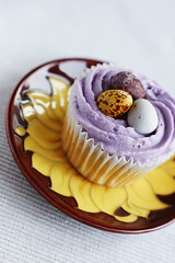 Sweet like chocolate (The Green Album) Tags: food cake easter ceramic baking sweet chocolate plate eat cupcake sunflower pottery icing cadburys frosting tempting minieggs moorcroft piped platinumphoto