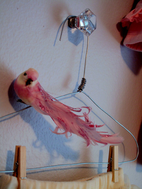 Pink Birdy on Wire Hanger