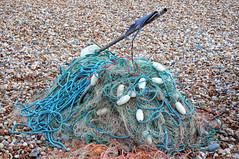 Fishing nets (larigan.) Tags: uk sea england sunshine coast seaside sand rocks unitedkingdom flag horizon recreation nets southcoast eastsussex floats englishchannel seasideresort lamanche fishingnets bexhill larigan phamilton summertimeuk