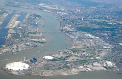 Millennium Dome and London City Airport on the Thames River (mbell1975) Tags: city england london thames docks river airport greenwich o2 millennium wharf dome lon canary
