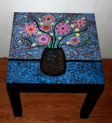 Flowers in Vase Table by Rick Cheadle Art and Designs