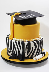 Zebra Graduation Cake (Three Little Blackbirds) Tags: zebra zebrastripes graduationcake