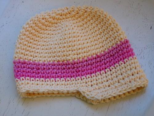 Newsboy Baby Hat Pattern - Yellow Pink