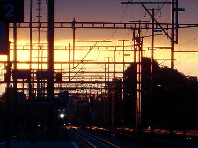 Abendhimmelstimmung am Bahnhof