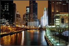Chicago River (Yavuz Alper) Tags: bridge chicago night reflections river downtown trumptower michiganavenue skycrapers