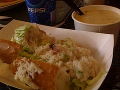 New England Clam Chowder and Dungeness Crab Roll