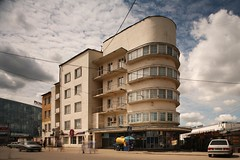 Author Unknown, Communal House of the Railway Workers, Nizhny Novgorod. 1929-1935 (rpa2101) Tags: windows blur architecture clouds canon curves modernism 5d 24mm gorky tse avantgarde  sovietarchitecture nizhniinovgorod