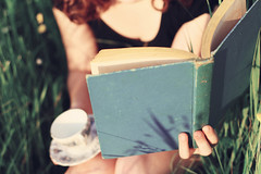 Something About The Way It's Written ({peace&love}) Tags: old blue summer lauren girl field grass reading holding shadows tea teal relaxing books pinkparis1233