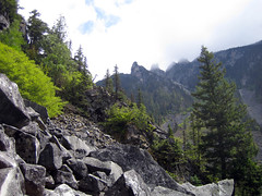scree!! (you can count on me) Tags: blue trees lake green dan nature water river scary rocks hike boulders pam scree cornelius chiliwack lindemanlake skree notaneasyhikestupidguidebook