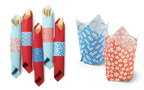 origami paper napkin rings and votive holders