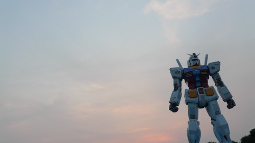 Gundam statue looks heroic