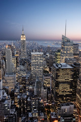 City Lights, NYC (braesikalla) Tags: city nyc newyorkcity travel roof sunset people urban usa newyork tourism horizontal architecture skyscraper outdoors photography day cityscape dusk manhattan tourist midtown newyorkstate hdr topoftherock observationpoint bankofamericatower traveldestinations famousplace buildingexterior largegroupofpeople highangleview downtowndistrict braesikalla totr observationdesk