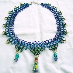 Undine's Familiar - chainmaille and bottle necklace