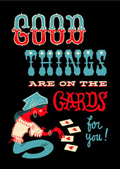 Good things are on the cards (Esther Aarts) Tags: illustration typography postcard 12 fortuneteller handlettering clairvoyant woodtype 65cm 9in pushyourluck 5inx6 6cmx17 5inx69in 126cmx1765cm
