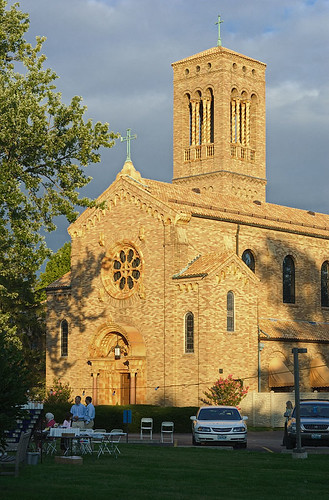 Discalced Carmelite Monastery, in Ladue, Missouri, USA - exterior of chapel at sunset