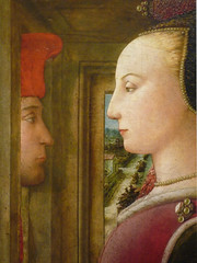 Fra Fillippo Lippi, Portrait of a Man and Woman at a Casement detail with faces
