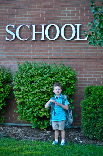 First day of school outside the building