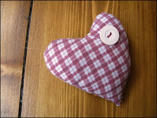 red and white heart brooch