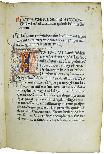 Decorated initial and unidentified annotations in Seneca, Lucius Annaeus: Epistolae ad Lucilium by University of Glasgow Library
