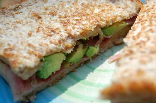 beef, avo, and cheese sandwich