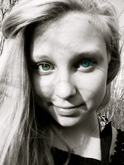 Colored Eyes (Kara A H) Tags: blackandwhite eye girl eyes raw blueeyes teen