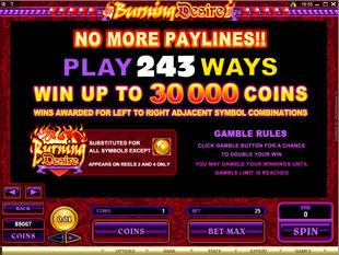 free Burning Desire bonus game