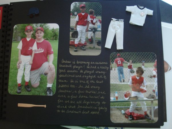 Example of a page - Sports Memory Book