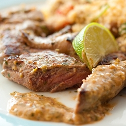 Lamb Steaks with Spicy Thai Peanut Sauce