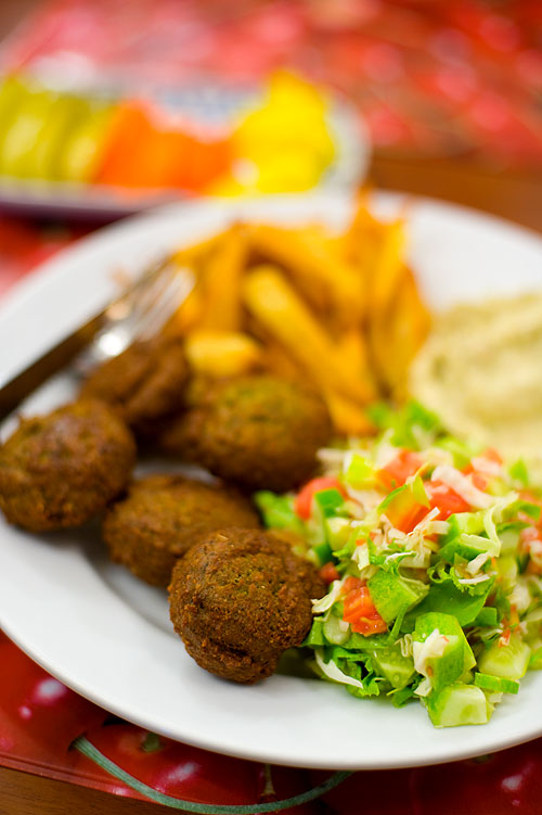 Falafel, chips and eggplant dip at Shoshana, an Israeli restaurant in Bangkok