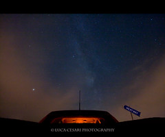 Road to the Milky Way (Luca Cesari Photography) Tags: longexposure blue sky orange car canon stars cielo iso1600 etoiles stelle milkyway efs1022mm oltrepo 400d grandepunto lucaeos