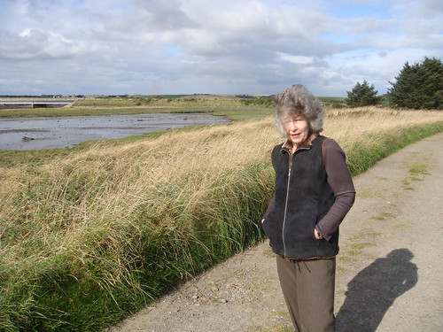 Mum getting a bit wind blown on our walk
