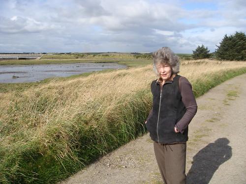Mum getting a bit wind blown on our walk