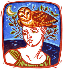 Owl Love (Kris Wiltse) Tags: morning flowers trees woman cats flower bird beach nature night train cat print woodcuts woods colorful glory bikini figure owl printmaking prints lowtide morningglory yola pheonix blockprints monoprints reductionprint linocuts reliefprints linoleumcuts