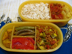 veggie bento 9.25.09 (mamichan) Tags: tomato pepper salad sauce curry potato squash bento butternutsquash onion veggie zucchini eats pickle greenbean csa localeats wheatberry mixedrice