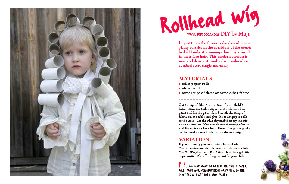 DIY Childrens costume toilet paper roll wig