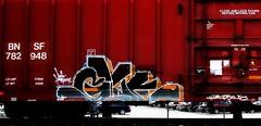 glue (mightyquinninwky) Tags: railroad halloween train geotagged moving glue tracks railway railcar rails boxcar freight bnsf rolling happyhalloween trainart rollingstock paintedtrain ohiostreet railart burlingtonnorthernsantafe movingart taggedtrain platec evansvilleindiana taggedboxcar paintedboxcar movingfreight geo:lat=37976803 paintedrailcar taggedrailcar geo:lon=87597165