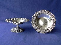 Pair of candy dishes / tazzas. (henriettasilver) Tags: floral silver basket candy dish sterling weave compote comport redlich holloware
