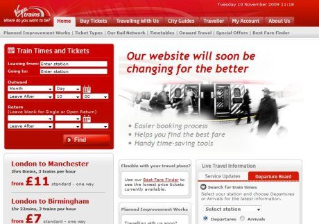 Old Virgin Trains homepage