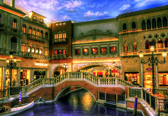 Venetian Canal, Las Vegas (cstout21) Tags: travel blue chris vacation usa gambling reflection brick water clouds boats lights canal us dock colorful unitedstates lasvegas nevada casino nv thestrip column lightposts hdr pathways ngoc gondella venetianhotelcasino canon60d northamera
