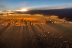 Above the Clouds (hey its k) Tags: sky clouds sunset sun westjet costarica canon6d colour rays img9005