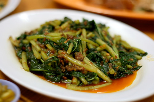 "Sambal ""fan shu ye"" sweet potato leaves"