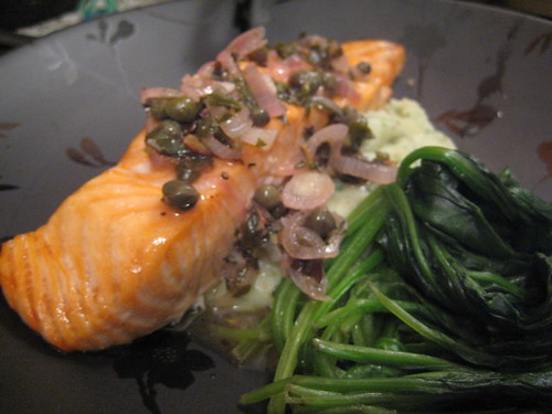 Salmon with Herb Vinaigrette and Mash