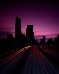 Twilight (Jeff Engelhardt) Tags: seattle city sunset building tower night skyscraper canon evening twilight downtown cityscape nocturnal metro headlights taillights lightstreams lightstreaks ridonkulous 40d jeffengel jeffengelhardt
