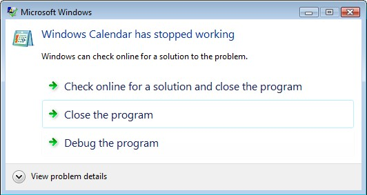 Windows Calendar Crash