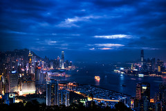 Blue night it is... (Gary Wong Photography) Tags: nightphotography hongkong hdr victoriaharbour cloudynight