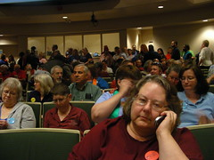 Ordinance supporters, mostly wearing blue and/or Equality Works buttons, dominated the seating in the front of the chambers