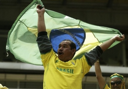 Brazil national team fan with flag